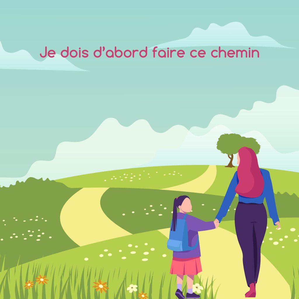 Une mère de dos tient une fillette par la main et un chemin vallonné est devant elles, avec un arbre au fond du paysage. Ce dessin illustre un article du blog d'Anne Pioz, psychothérapeute et coach à Dourdan et à distance.