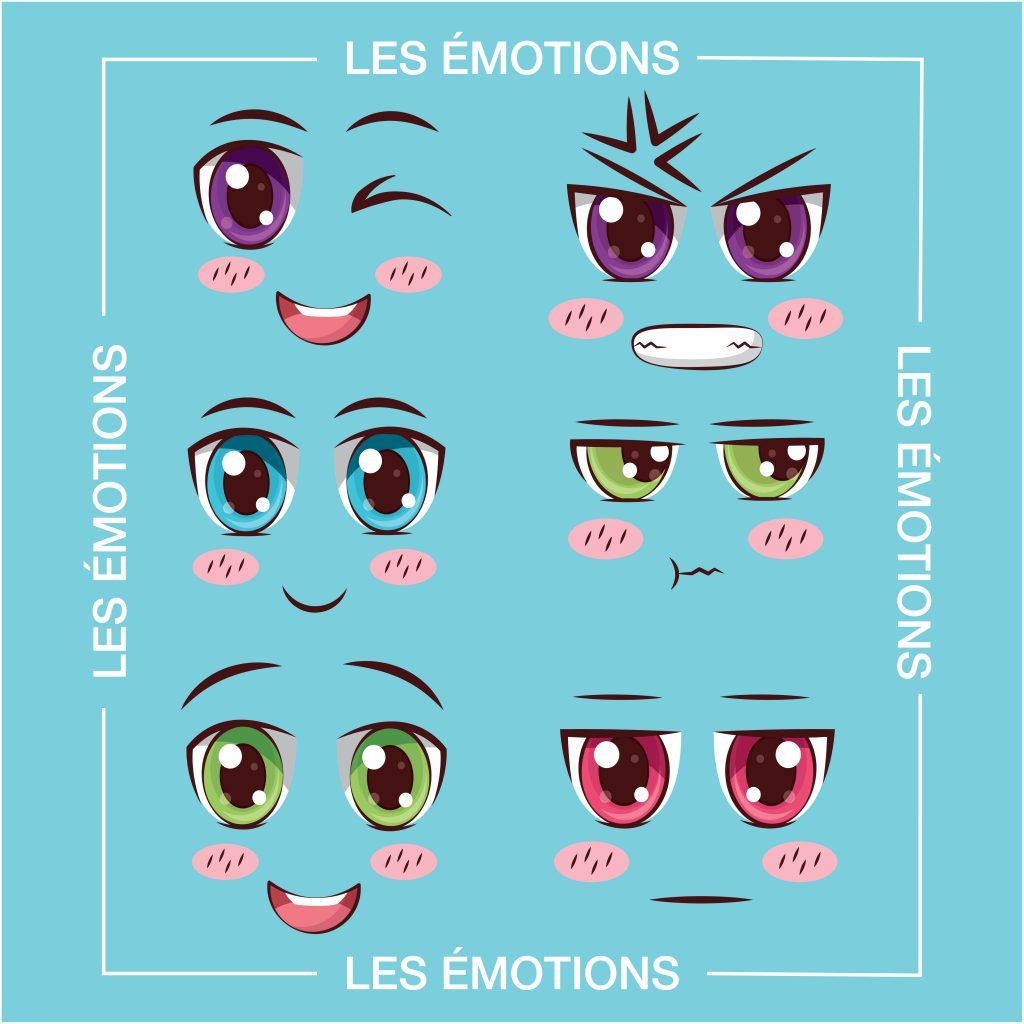 Visuel représentant différentes émotions. Des yeux expressifs sont dessinés. Illustrant de travail en coaching émotionnel d'Anne Pioz psychothérapeute à Dourdan et en ligne