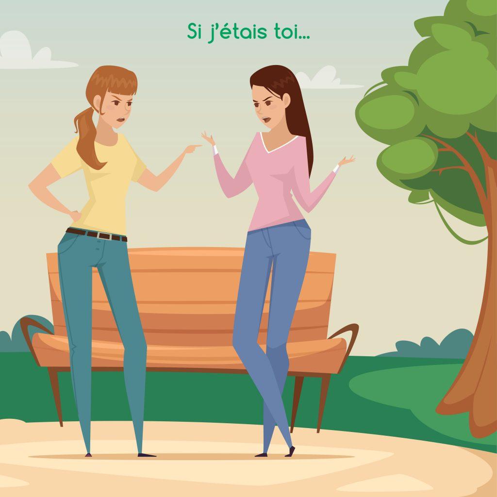 Deux femmes face à face discutent vivement. Il y a un banc derrière elles et un arbre sur la gauche de l'image. Cette illustration est utilisée pour un article de blog écrit par Anne Pioz, psychothérapeute et coach à Dourdan et en ligne.
