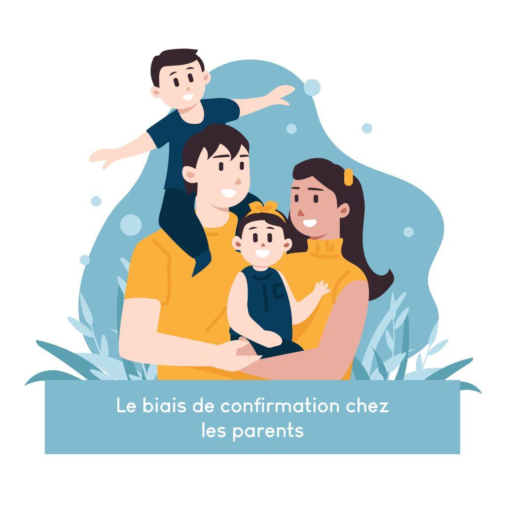 Un couple avec deux enfants, un garçon sur les épaules de son père et une fillette dans les bras de sa mère. Ce dessin illustre l'article du blog d'Anne Pioz sur le biais de confirmation chez les parents